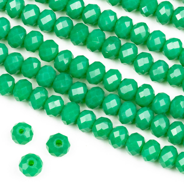 Crystal 4x6mm Opaque Ming Jade Green Rondelle Beads -Approx. 15.5 inch strand