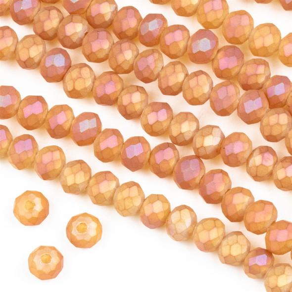 Crystal 4x6mm Opaque Matte Sunset Orange Rondelle Beads -Approx. 15.5 inch strand
