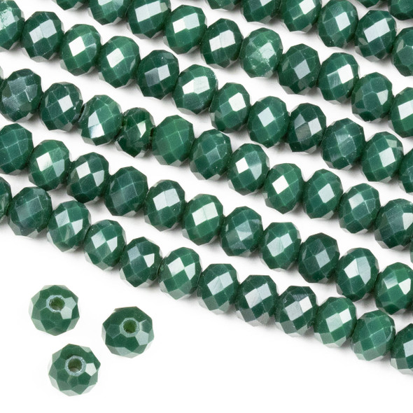 Crystal 4x6mm Opaque Pine Green Rondelle Beads -Approx. 15.5 inch strand