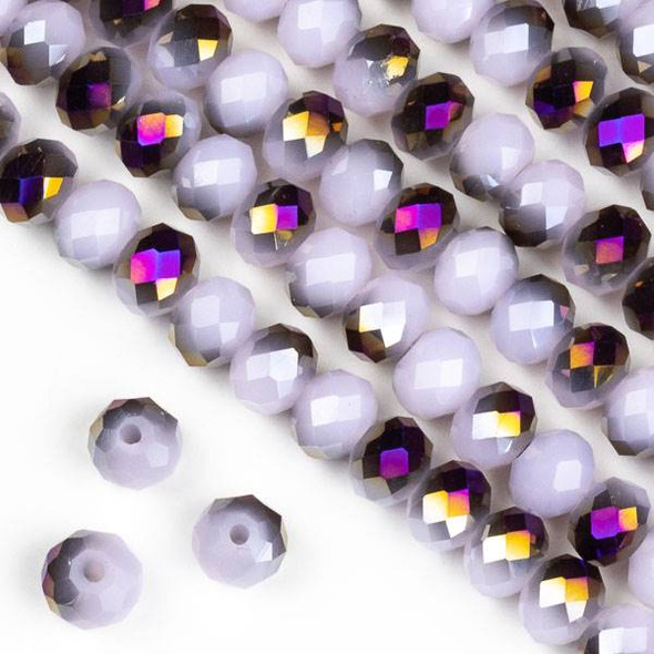 Crystal 4x6mm Purple Rainbow Kissed Opaque Pink Hydrangea Rondelle Beads - Approx. 15.5 inch strand