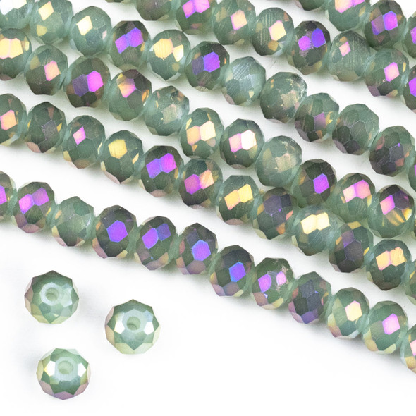 Crystal 4x6mm Opaque Purple Rainbow Kissed Spanish Moss Green Rondelle Beads -Approx. 15.5 inch strand