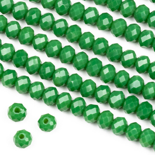 Crystal 4x6mm Opaque Shamrock Green Rondelle Beads -Approx. 15.5 inch strand