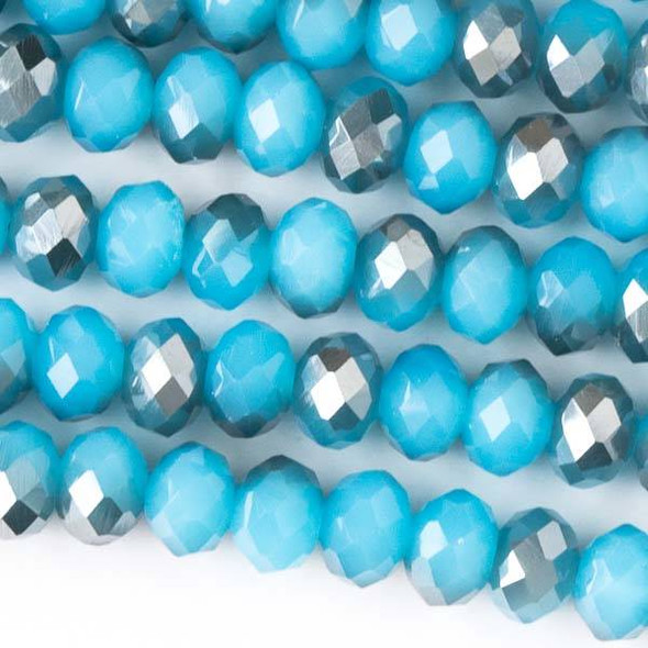 Crystal 4x6mm Opaque Silver Graphite Kissed Aqua Blue Faceted Rondelle Beads - Approx. 15.5 inch strand
