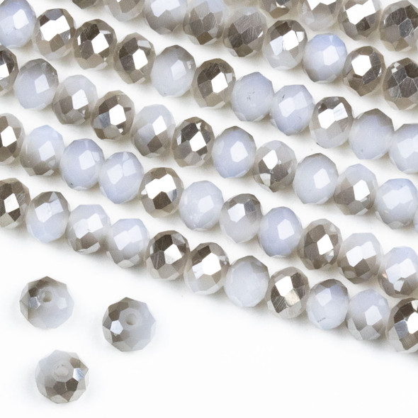 Crystal 4x6mm Opaque Silver Kissed Winter Grey Rondelle Beads -Approx. 15.5 inch strand