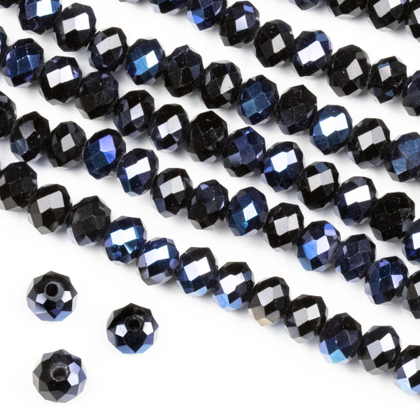 Crystal 4x6mm Opaque Starry Night Rondelle Beads -Approx. 15.5 inch strand
