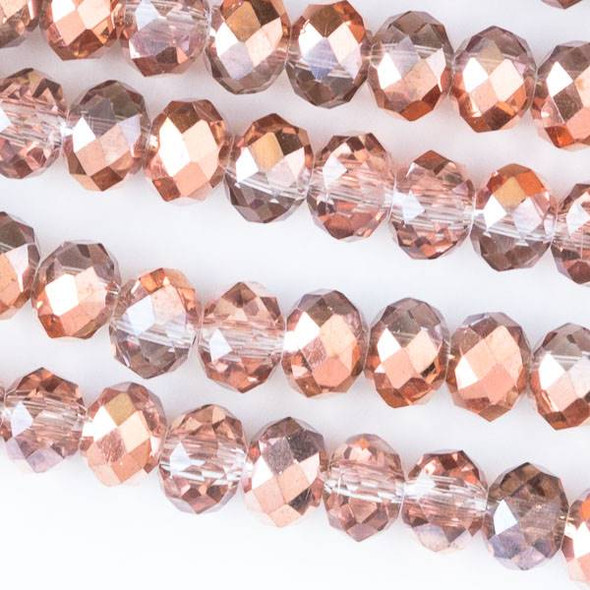 Crystal 4x6mm Opaque and Translucent Rose Gold Faceted Rondelle Beads - Approx. 15.5 inch strand