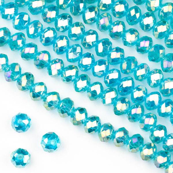 Crystal 4x6mm Teal Blue Faceted Rondelle Beads with an AB finish - Approx. 15.5 inch strand