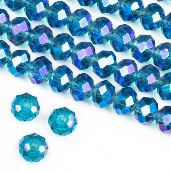 Crystal 6x8mm Blue Green Bahama Mermaid Faceted Rondelle Beads - Approx. 15.5 inch strand