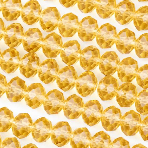 Crystal 6x8mm Champagne Rondelle Beads -Approx. 15.5 inch strand