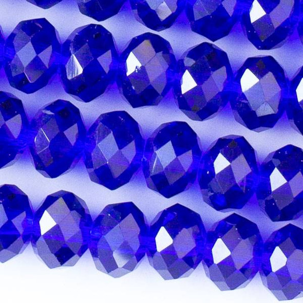 Crystal 6x8mm Cobalt Blue Faceted Rondelle Beads - Approx. 15.5 inch strand
