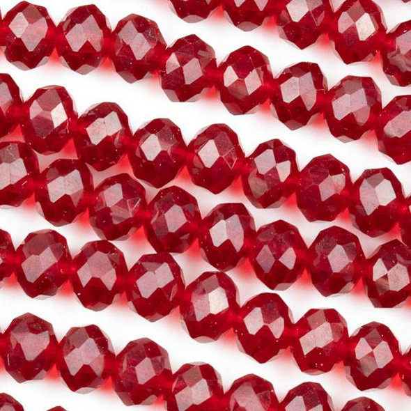 Crystal 6x8mm Light Siam Red Rondelle Beads -Approx. 15.5 inch strand