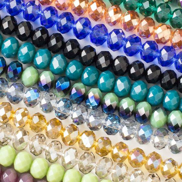 A Bulk Mix of 50 6x8mm Crystal Rondelles on Approx. 15.5 Inch Strands