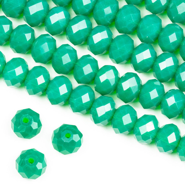 Crystal 6x8mm Milky Ming Jade Green Rondelle Beads -Approx. 15.5 inch strand