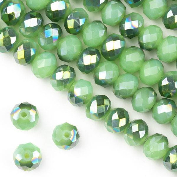Crystal 6x8mm Opaque Spearmint Kissed Green Rondelle Beads - Approx. 15.5 inch strand