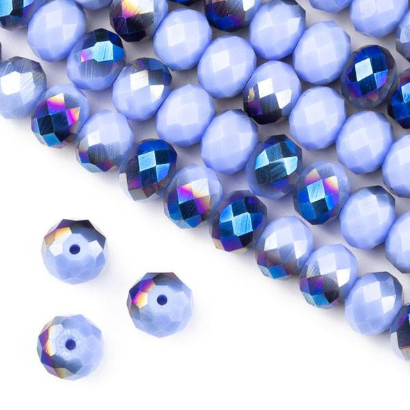 Crystal 6x8mm Opaque Blue Rainbow Kissed Light Periwinkle Faceted Rondelle Beads - Approx. 15.5 inch strand