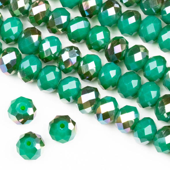 Crystal 6x8mm Opaque Bronze Kissed Jade Green Rondelle Beads -Approx. 15.5 inch strand