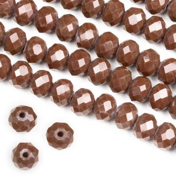 Crystal 6x8mm Opaque Chocolate Cherry Rondelle Beads -Approx. 15.5 inch strand
