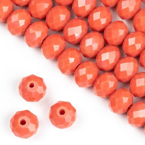 Crystal 6x8mm Opaque Coral Orange Faceted Rondelle Beads - Approx. 15.5 inch strand