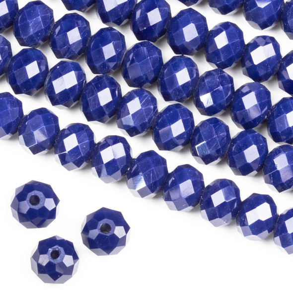 Crystal 6x8mm Opaque Dark Navy Blue Rondelle Beads -Approx. 15.5 inch strand