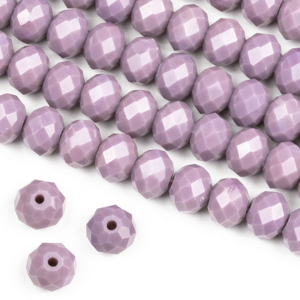 Crystal 6x8mm Opaque Dusty Plum Purple Rondelle Beads -Approx. 15.5 inch strand