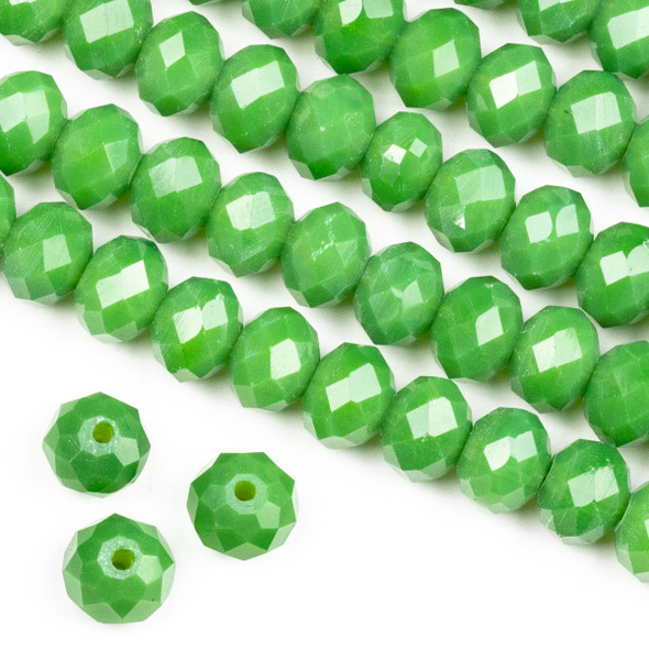 Crystal 6x8mm Opaque Fern Green Rondelle Beads -Approx. 15.5 inch strand