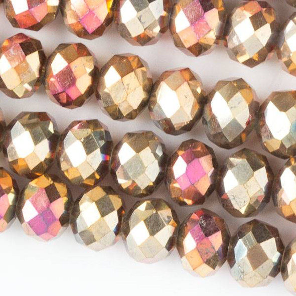Crystal 6x8mm Opaque Golden Copper Faceted Rondelle Beads with a Hot Pink AB finish - Approx. 15.5 inch strand