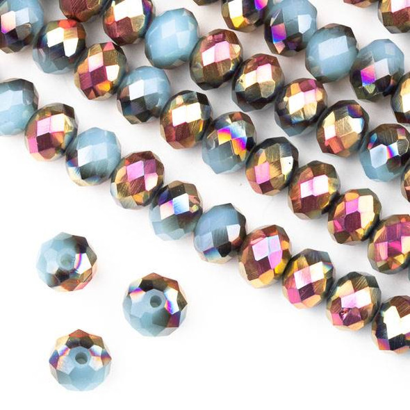 Crystal 6x8mm Opaque Hot Pink Golden Copper Kissed Blue Grey Faceted Rondelle Beads - Approx. 15.5 inch strand