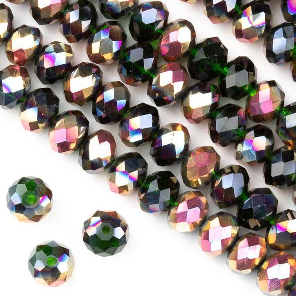 Crystal 6x8mm Hot Pink Golden Copper Kissed Emerald Green Faceted Rondelle Beads with a Hot Pink AB finish - Approx. 15.5 inch strand