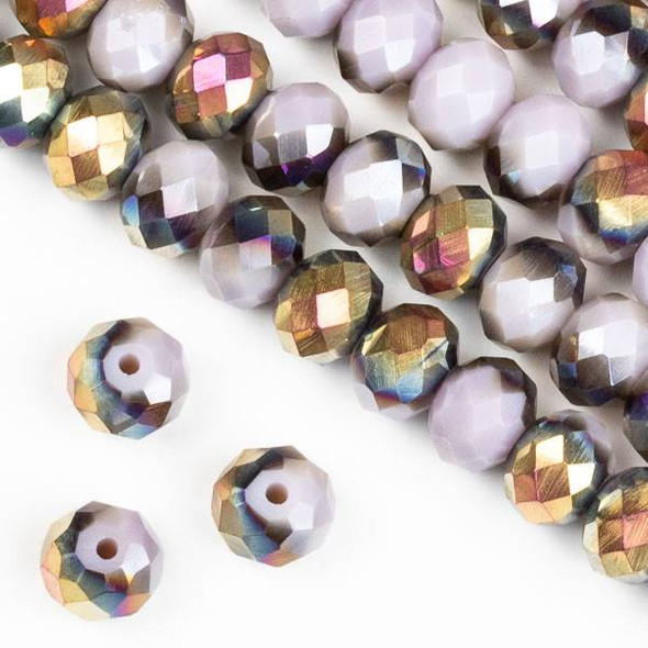 Crystal 6x8mm Hot Pink Golden Copper Kissed Opaque Purple Hydrangea Rondelle Beads - Approx. 15.5 inch strand