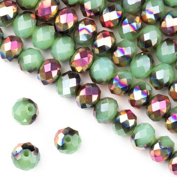 Crystal 6x8mm Opaque Hot Pink Golden Copper Kissed Spearmint Green Faceted Rondelle Beads - Approx. 15.5 inch strand