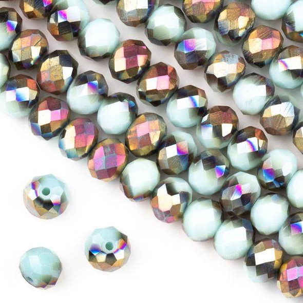 Crystal 6x8mm Opaque Hot Pink Golden Copper Kissed Seafoam Blue Faceted Rondelle Beads  - Approx. 15.5 inch strand