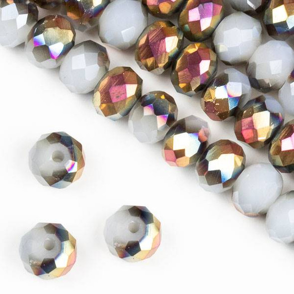 Crystal 6x8mm Hot Pink Golden Copper Kissed Opaque Smoke Grey Rondelle Beads - Approx. 15.5 inch strand