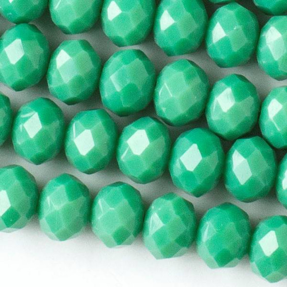 Crystal 6x8mm Opaque Jade Green Faceted Rondelle Beads - Approx. 15.5 inch strand