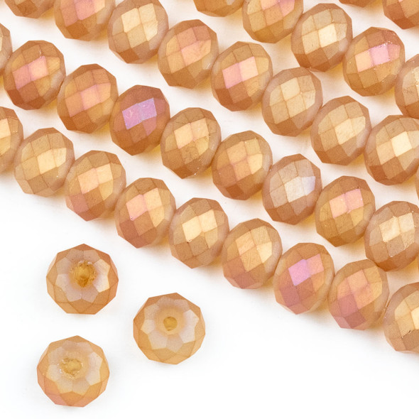 Crystal 6x8mm Opaque Matte Sunset Orange Rondelle Beads -Approx. 15.5 inch strand