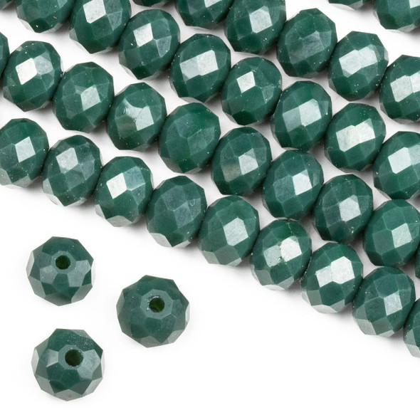 Crystal 6x8mm Opaque Pine Green Rondelle Beads -Approx. 15.5 inch strand