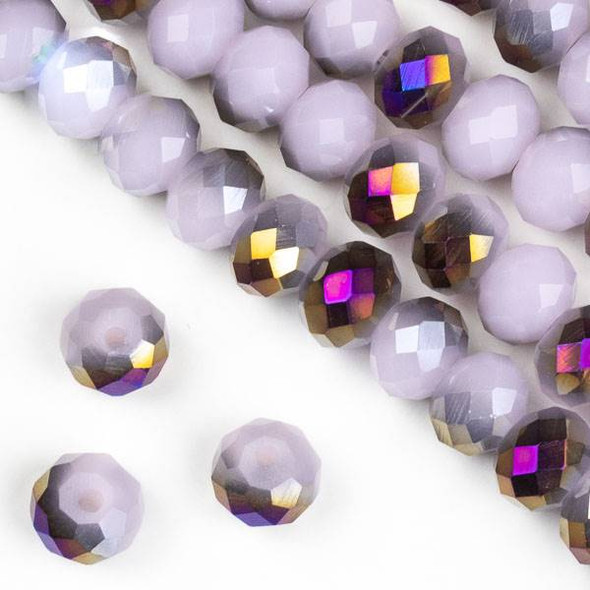 Crystal 6x8mm Purple Rainbow Kissed Opaque Pink Hydrangea Rondelle Beads - Approx. 15.5 inch strand