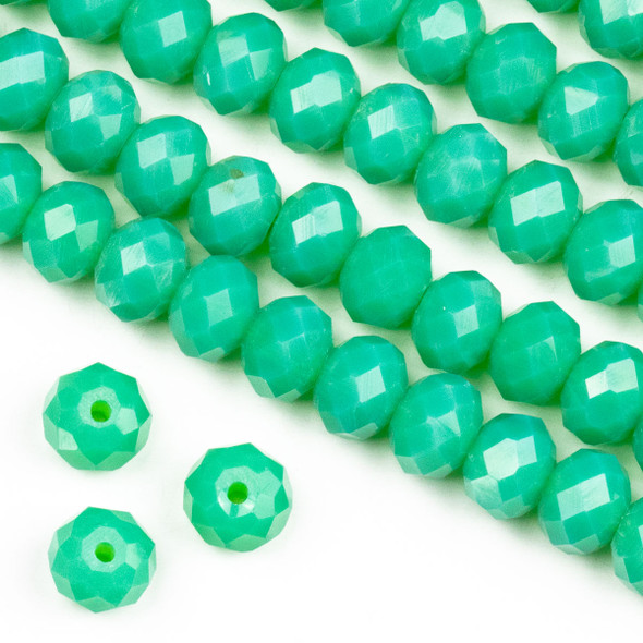 Crystal 6x8mm Opaque Poseidon Green Rondelle Beads -Approx. 15.5 inch strand