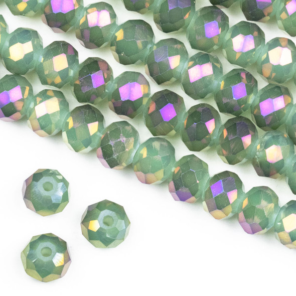 Crystal 6x8mm Opaque Purple Rainbow Kissed Spanish Moss Green Rondelle Beads -Approx. 15.5 inch strand