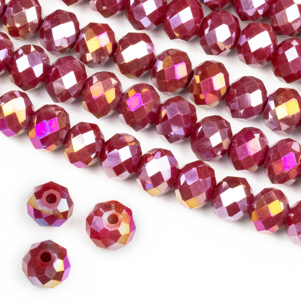 Crystal 6x8mm Opaque Raspberry Red Rondelle Beads with an AB finish -Approx. 15.5 inch strand
