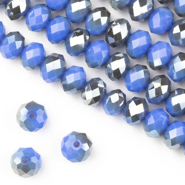 Crystal 6x8mm Opaque Silver Kissed Periwinkle Blue Faceted Rondelle Beads - Approx. 15.5 inch strand