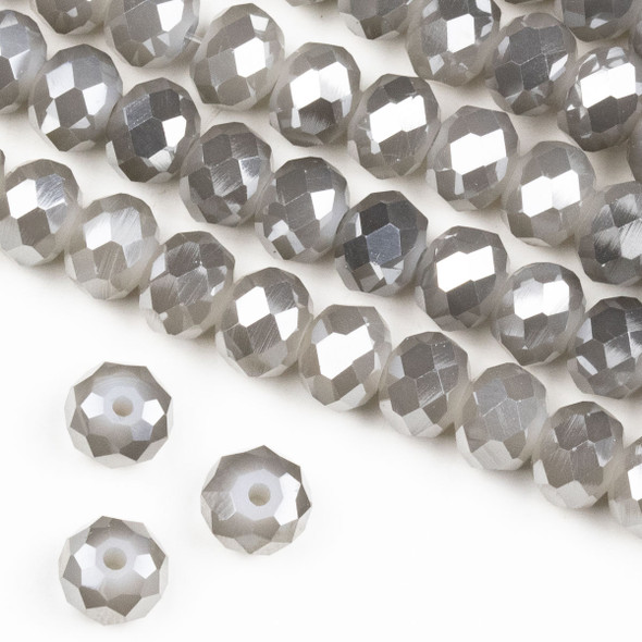 Crystal 6x8mm Opaque Silver Kissed Pewter Grey Rondelle Beads -Approx. 15.5 inch strand