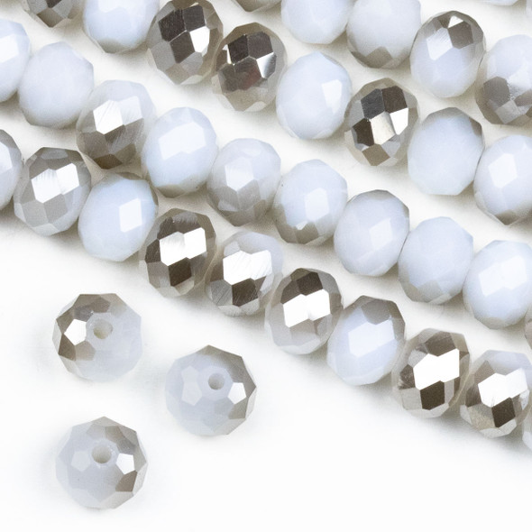 Crystal 6x8mm Opaque Silver Kissed White Rondelle Beads -Approx. 15.5 inch strand