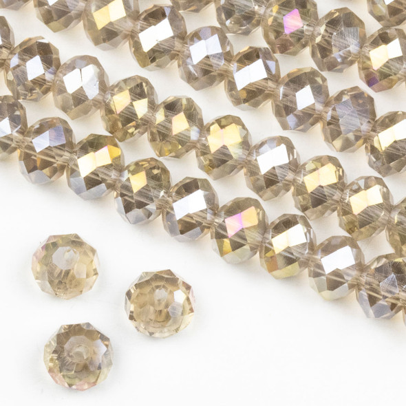 Crystal 6x8mm Smoky Champagne Rondelle Beads with a Golden AB finish -Approx. 15.5 inch strand