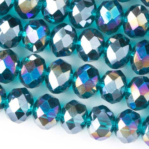 Crystal 6x8mm Teal Green Faceted Rondelle Beads with an AB finish - Approx. 15.5 inch strand