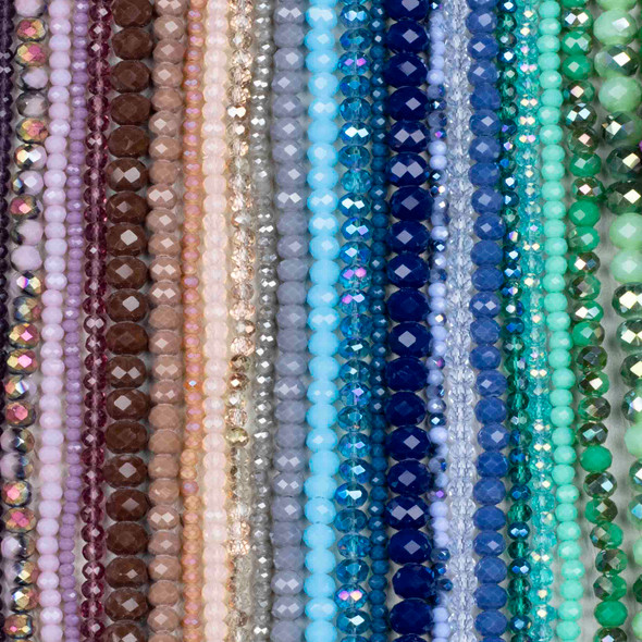 A Bulk Mix of 50 Crystal Rondelles on Approx. 15.5 inch strands