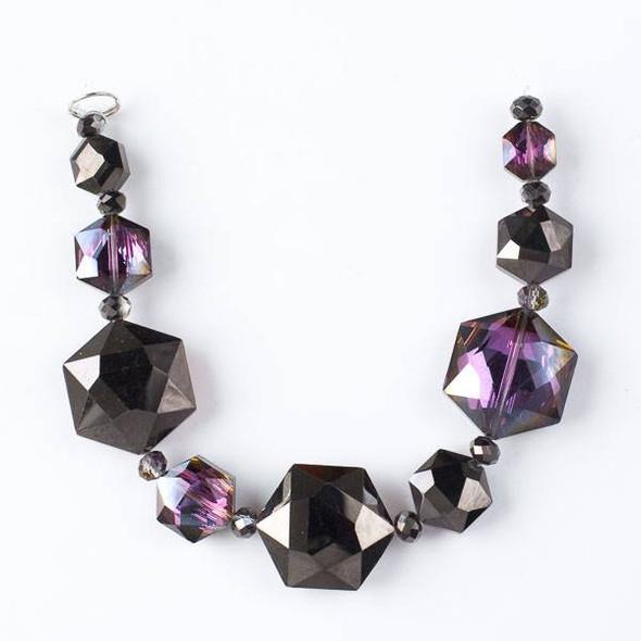 Crystal Artisan Strand - Style #3-2 Hexagon Mix, Blackberry