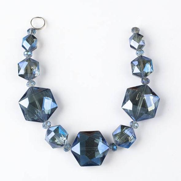 Crystal Artisan Strand - Style #3-2 Hexagon Mix, Midnight Blue