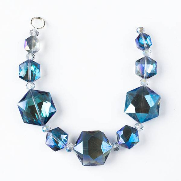 Crystal Artisan Strand - Style #3-2 Hexagon Mix, Translucent Lapis AB
