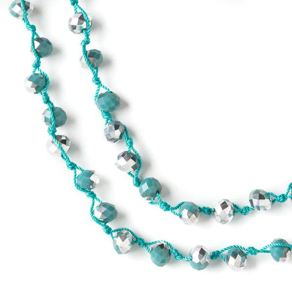 36 inch Hand Knotted Opaque Silver Kissed Green Turquoise 6x8mm Crystal Rondelle Necklace with Turquoise Nylon Cord