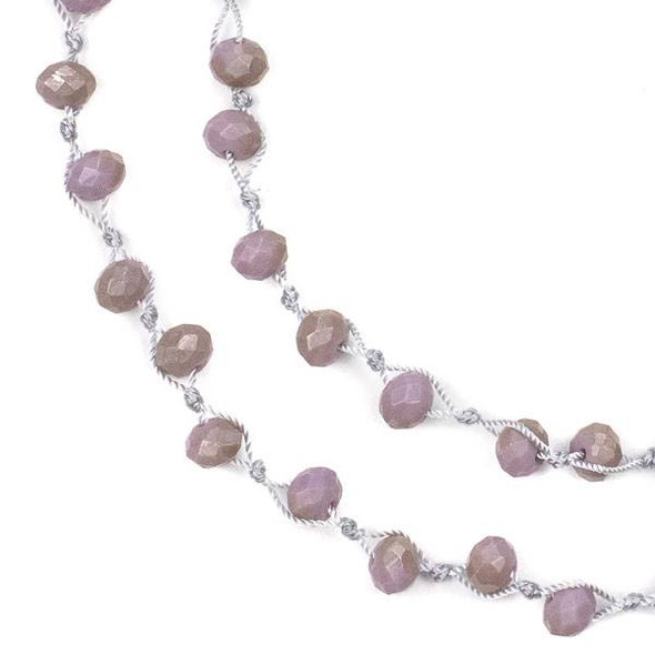 36 inch Hand Knotted Opaque Honey Kissed Lavender Purple 6x8mm Crystal Rondelle Necklace with Grey Nylon Cord